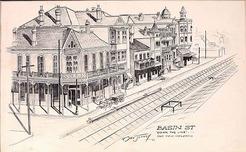 Jeffrey Noel Drawing Signed 1960 Basin Street Down