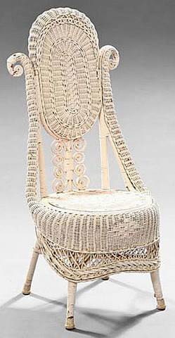 Furniture Wicker Chair Slipper Victorian White Paint