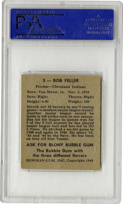 Baseball Card Signed Bowman 1948 Feller Bob 5