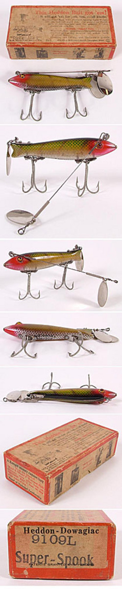 Fishing lure heddon super dowagiac spook no 9100 for Antique fishing lures prices