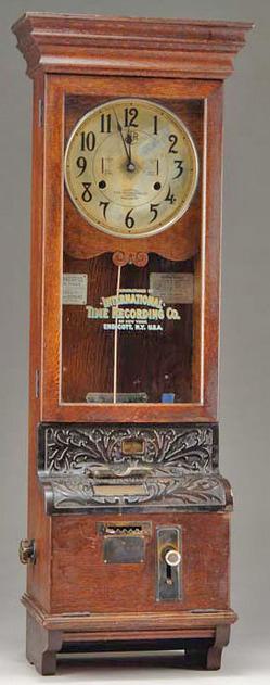 Time Recorder Clock International Time Recording Co Oak