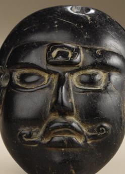 Stone Pre Columbian Maya Mask Face Black Traces Of