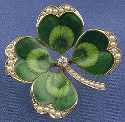 Brooch Pendant Krementz Antique 14k Gold Enamel 4 Leaf
