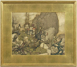 A watercolor and ink on illustration board by Arthur Rackham (British, 1867 to 1939), illustration from Washington Irving's Rip Van Winkle in Newcomb-Macklin frame