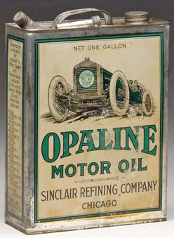 A Sinclair Opaline Motor Oil one gallon can with racecar; image credit on full record.