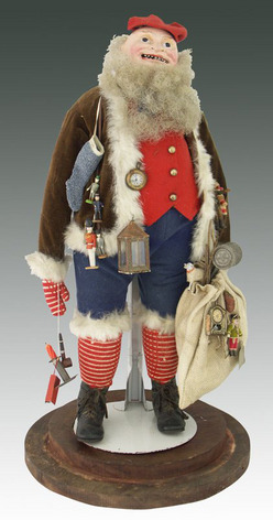 A Santa Claus Belsnickle figure of exceptionally rare form, likely made in Pennsylvania in the 1870s