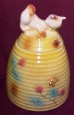 Cookie Jar American Bisque Beehive Cat Finial