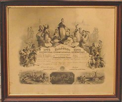 A Centennial Exhibition Stock Certificate for 50 shares issued to John S. Lippincott on October 7, 1875 by the Centennial Committee in Philadelphia, Pennsylvania