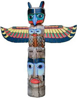 Effigy Northwest Coast Totem Pole Spread Wing Top 6 Ft