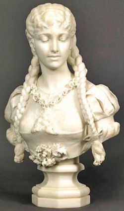 Marble Sculpture Andreoni G Bust Of Young Woman With