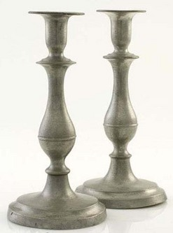 A pair of Homan pewter candlesticks, circa 1830 to 1860, Cincinnati, Ohio.