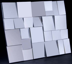 glass sculpture small neal angled mirror panels wall