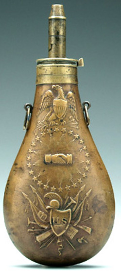Powder Flask Ames Peace Flask Eagle Circle Of Stars 1838