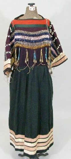 beaded dress with cowrie shells, possibly Nez Perce; image credit on