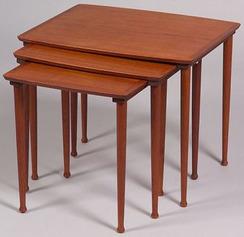 Three Danish Modern Teak Nesting Tables; Image Credit On Full Record.