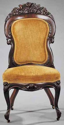 An American Rococo Laminated Rosewood Slipper Chair Mid 19th Century