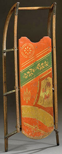 Early child's sled with foliate and bands decoration