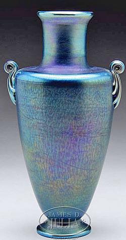 Tiffany Glass Favrile Vase Handled Iridescent 10 Inch