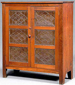 A Poplar Punched Tin Pie Safe, Two Doors, Each With Three Geometric Punched  Tin Panels, Shelved Interior, Southern, Possibly Tennessee, 19th Century;  ...