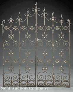 Gate Spanish Style Wrought Iron Flame Finials Scroll