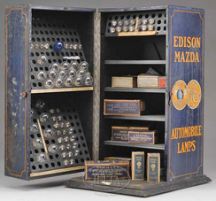 Store Cabinet Edison Mazda Automobile Lamps Tin