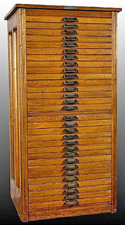 Furniture: Cabinet; Hamilton Mfg, Typesetter, Oak, 30 Drawers, 53 ...