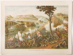 Kurz Amp Allison Chromolithograph Civil War Scene Battle
