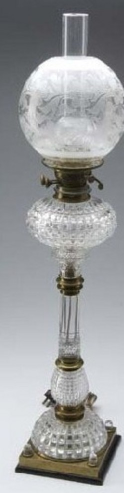 oil lamp hinks sons cut glass brass 33 inch. Black Bedroom Furniture Sets. Home Design Ideas