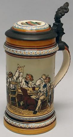 Mettlach Stein No 1146 Etched Drinking Scene Inlay