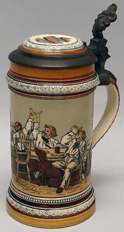 Mettlach Stein No 1146 Etched Drinking Scene Inlay Lid 1 2 Liter