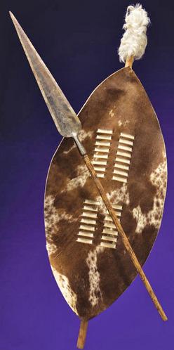 Spear; Africa, Zulu, Stabbing, Hide Shield, 4 ft.