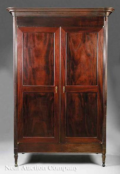 furniture wardrobe armoire federal mahogany 2 paneled. Black Bedroom Furniture Sets. Home Design Ideas