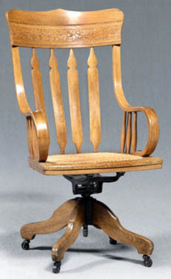 A Swiveling Pressed Back Desk Chair With A Tall Back, Crocker Chair Co.,  Sheboygan, Circa 1900; Image Credit On Full Record.