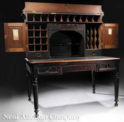 An American Southern Walnut Plantation Desk Mid 19th Century The Superstructure With A Cove Molded Cornice Drawers Cupboard And Scalloped Inset Shelf
