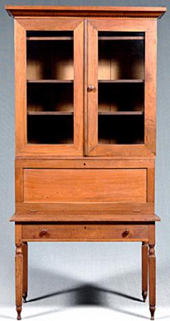 Furniture Desk Plantation Walnut 2 Glazed Doors Fall