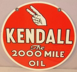 Gas Station Sign Kendall 2000 Mile Oil Tin Round