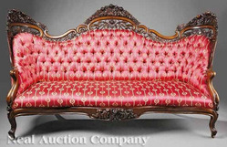York Furniture An American Rococo Carved And Laminated Rosewood Sofa