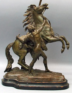 Bronze Sculpture Coustou Signed Man On Rearing Horse
