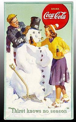 Coca Cola Sign Thirst Knows No Season Snowman
