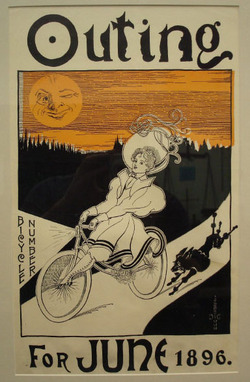Outing magazine poster, June 1896 - fall colors with the Man In The Moon winking at this lovely lady on her bicycle
