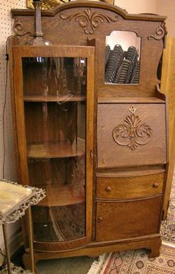 Furniture Secretary Victorian Golden Oak Curved Glass
