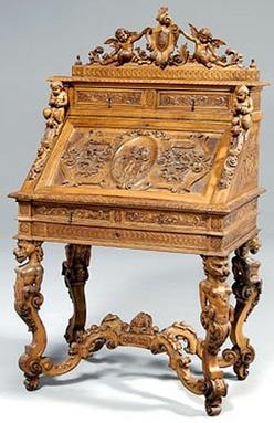 Furniture Desk Italian Renaissance Revival Walnut
