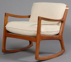 An Ole Wanscher Rocking Chair Teak With Upholstered Cushions Image Credit On Full Record