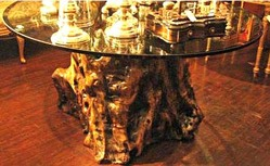 Us Banks Money Tree >> Furniture: Table-Dining; Glass Top, Tree Trunk Base.