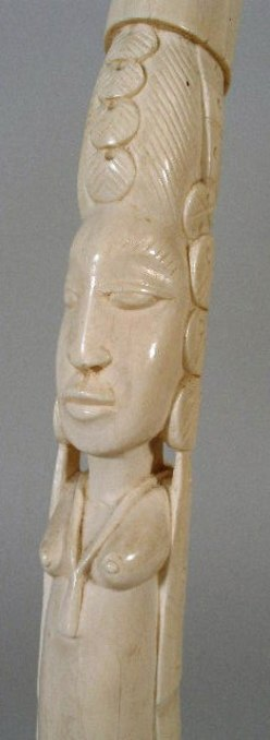 Carving African Ivory Tusk Bust Of African Female 20