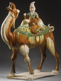Pottery; Chinese, Tang Dynasty, Sancai, Figural Group, Bactrian Camel