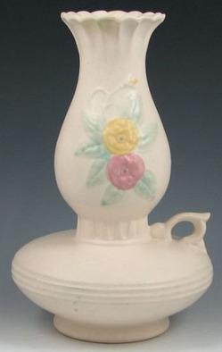 Lamp Base Vase Hull Pottery Open Rose Finger Loop