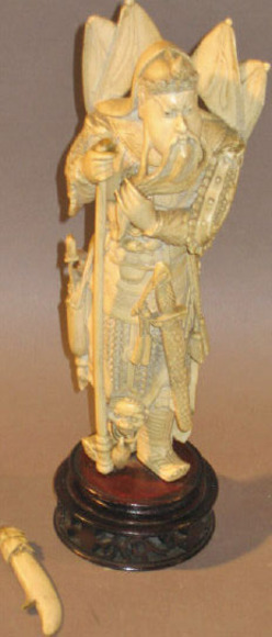 Carving Chinese Ivory Figure Samurai Warrior With
