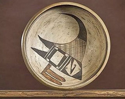 A Hopi polychrome bowl by Nampeyo, first quarter 20th century, Sikyatki-style bird in center