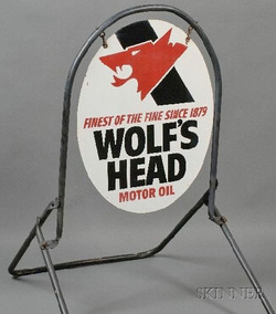 Gas Station Sign Wolf 39 S Head Motor Oil Finest Since 1879 Oval On Stand